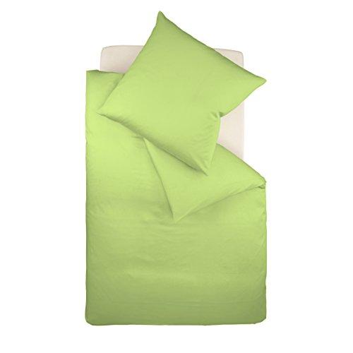 Fleuresse Dream Art Riva Feingewebe 143653 Fb. Grün, Renforce-Bettwäsche-Set, 135 x 200 cm und Kissen 80 x 80 cm, ideale Sommer-Bettwäsche für Sie und Ihn, 1 Bettbezug + 1 Kissen