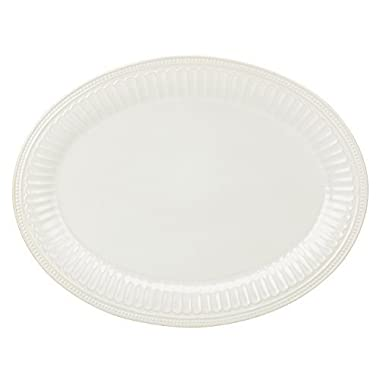 Lenox French Perle Groove Oval Platter, White by Lenox