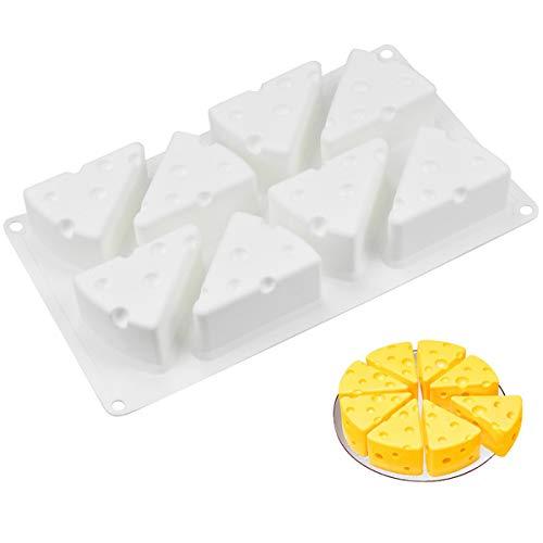 HQdeal stampi in silicone per dolci, 8 Fori di Formaggio teglia da forno in silicone, Stampo per Dolci 3D Stampo, per Mousse,Cioccolato, Torta, Gelatina,pudding, fatto a mano sapone