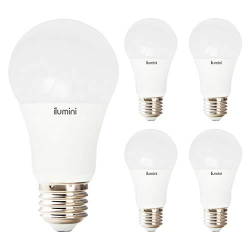 ILUMINI Bombillas LED A60 Estandár, Casquillo E27,10W equivalente a 75w, 6500K Luz Fría, 1000 Lúmenes [Clase de eficiencia energética A+] PACK DE 5