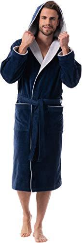 Morgenstern Bademantel für Herren aus Baumwolle mit Kapuze (XL, Marine Blau)