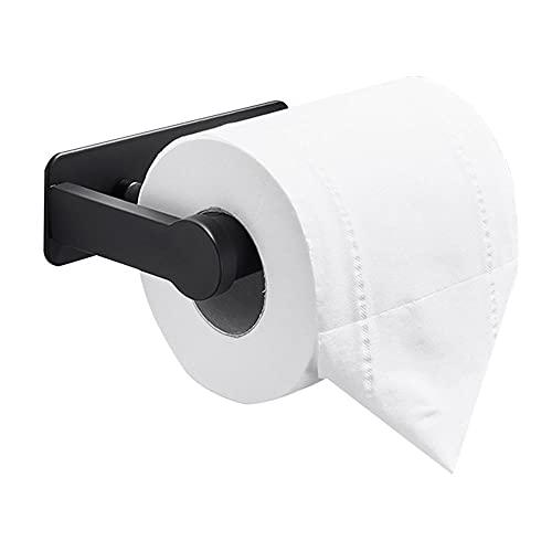 Soporte Papel higienico Negro portarollos Papel higienico de Pared portarrollos baño Adhesivo sin Taladro Aluminio para baño de baño-135x42x90mm