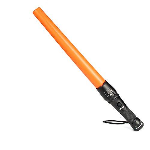 UltraFire Linterna LED 42 cm Señal de Tráfico Varita 980 Lúmenes 5 Modos Foco Ajustable Baton Linterna Con la base magnética de alta resistencia,,A200,Acabado Color Naranja,Modo de Luz Flash Rojo