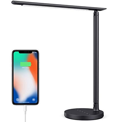 iPosible Lámpara Escritorio LED 36 LED 23W Lámpara de Mesa Protección Ocular 7 Niveles de Brillo Ajustable Lámpara de Lectura Control Táctil Lámpara de Cabecera con USB Puerto para Recargar Smartphone