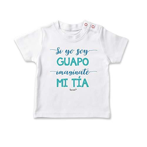 SUPERMOLON Camiseta bebé Si yo soy guapo, imagínate mi tía Blanco 0-1 años