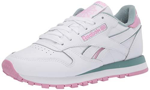 Reebok - Zapatillas de piel clásicas para mujer, (Blanco/pizarra verde/rosa jazmín.), 39.5 EU
