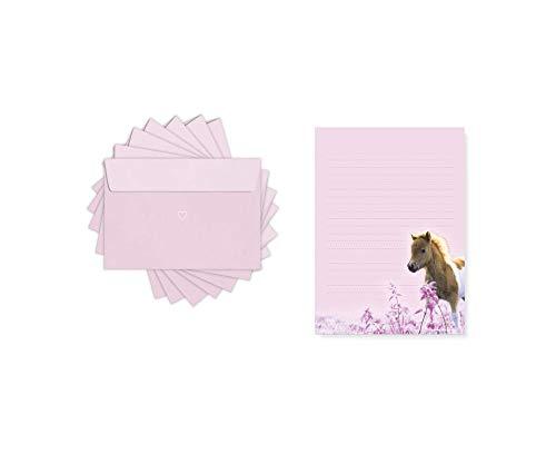 Friendly Fox Juego de papel de carta infantil con diseño de caballos - Pony - Bloc de notas con líneas - Bloc de cartas A5 50 hojas + 20 sobres - Juego de papel de carta para caballos y niñas