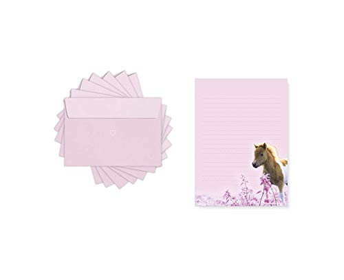 Friendly Fox Kinder Briefpapier Pony - Briefblock/Schreibblock mit Linien - A5 Briefblock mit 50 Blatt inkl. 20 Umschlägen - Briefpapier Set für Pferde Mädchen