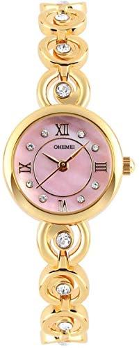 TYX-SS Reloj de Pulsera de Moda 30 m Relojes a Prueba de Agua Conjunto de Banda de Acero con Diamante Ocio Tendencia Reloj de joyería Dial Mujeres-Rosa