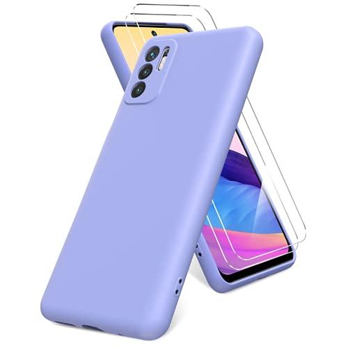 Vansdon Funda Compatible con Xiaomi Redmi Note 10 5G, 2 Unidades Protector Pantalla Cristal Templado, Silicona Líquida Gel Ultra Suave Funda- Morado