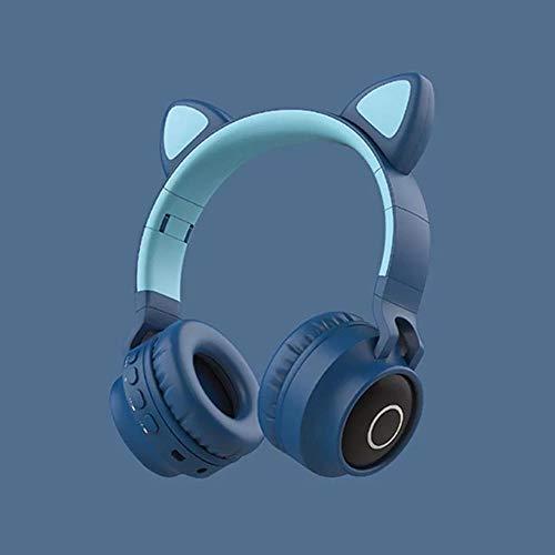 Mazu Homee Auriculares de juego, auriculares de gato para estudiantes con dibujos animados inalámbricos con Bluetooth, auriculares para teléfono móvil, aplicables a PC y PlayStation