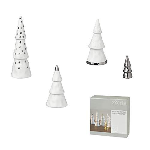 Räder 88683 Winterzeit Lot de 4 sapins décoratifs en porcelaine Blanc/argenté