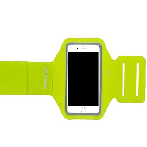 Mimacro Brazalete Deportivo para móvil de hasta 4,7' 138 X 67 X 7 mm Lycra Neopreno Ajustable L-XXL y S-M Amarillo Neón