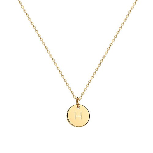 "Valloey Gold Initial Pendant Necklace, 14K Gold Filled Disc Double Side Engraved 16.5"" Adjustable Dainty Personalized Alphabet Letter Pendant Handmade Cute Tiny Necklaces Jewelry Gift for Women(H)"