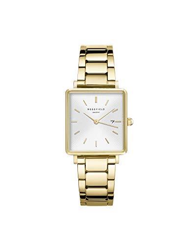 Rosefield dames analoog horloge The Boxy White Sunray Steel Gold
