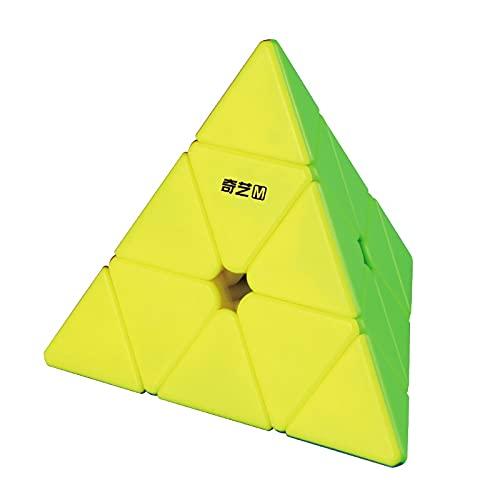 Oostifun FunnyGoo M Version 3x3 Pyraminx M Triangle Pyramid Rompecabezas mágico Cubos M Magic Cube Puzzle 3D Smooth Turning Cube + Cube Stand y Bolsa de Cubo (Stickerless)