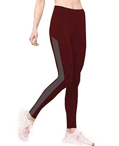 Neu Look Gym wear Leggings Ankle Length Workout Tights | Stretchable Sports Leggings | High Waist Sports Fitness Yoga Track Pants for Girls & Women (MAROON GREY - M)