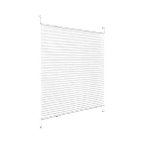 Victoria M. Praktica Plissee Faltrollo Plisseerollo, ohne Bohren, mit Klemmträgern für Fensterflügel 15-22 mm, Aluminiumschienen, aus Polyesterstoff, weiß, 65 x 100 cm