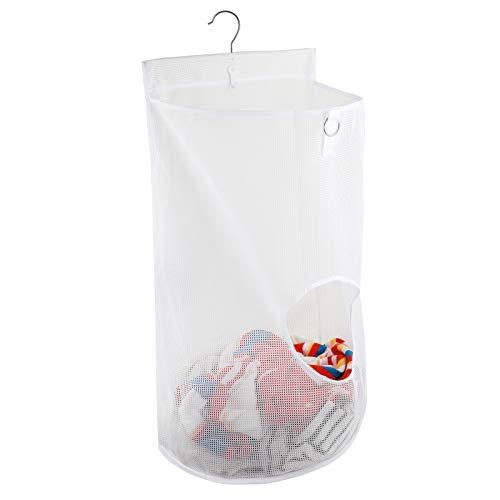 HomeFairy Semincircular - Bolsa organizadora de malla para ropa sucia, cestas para ropa plegable con gancho duradero, ideal para puertas, paredes, armarios, color blanco, 68,5 x 35,5 x 22,8 cm