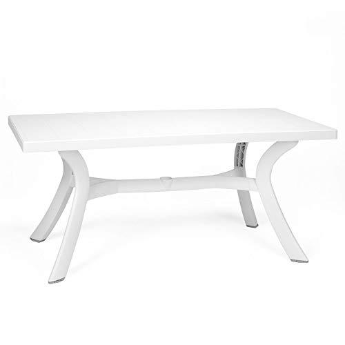 Mesa Toscana de jardín rectangular con travesaños centrales, 120 x 80 cm, color blanco, mesa fabricada en Italia