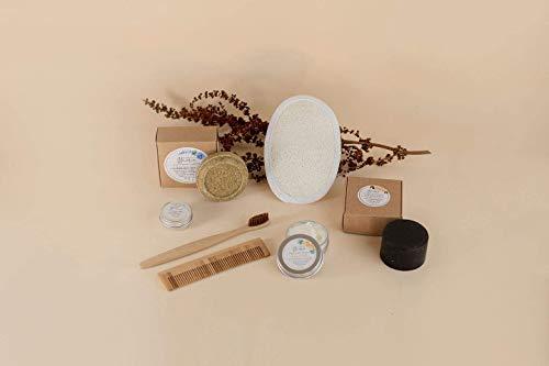 KIT DE VIAJE - Champú sólido, jabón exfoliante, crema de manos, bálsamo labial, cepillo de dientes, esponja plana y peine - 100% ecológico y natural