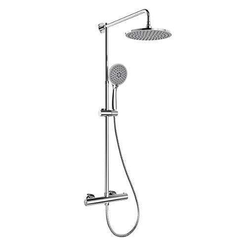 WELMAX Duschsystem mit Thermostat, Edelstahl Duschset Dusche inkl. Handbrause, Überkopfdusche und Verstellbarer Duschstange   Chrom (Rund D228mm)