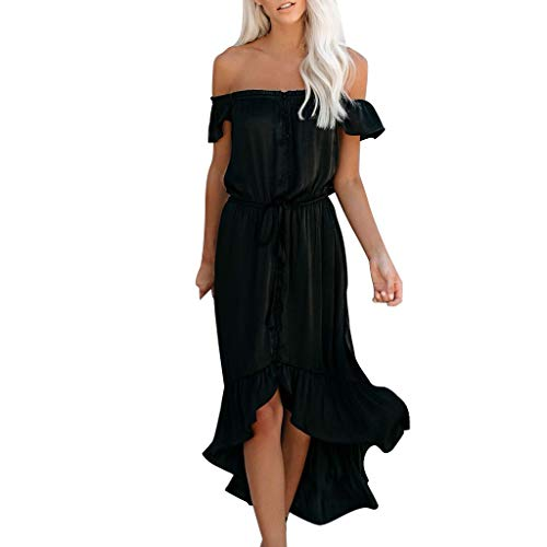 Review Womens Off Shoulder Ruffle Maxi Dress | Ladies Irregular Beach Long Dresses Summer Waist Stra...