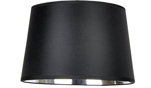 Designer-Lampenschirm-Satin-schwarz-rund-konische-Form Ø 40cm innen Chrom (25 * 40 * 26cm)