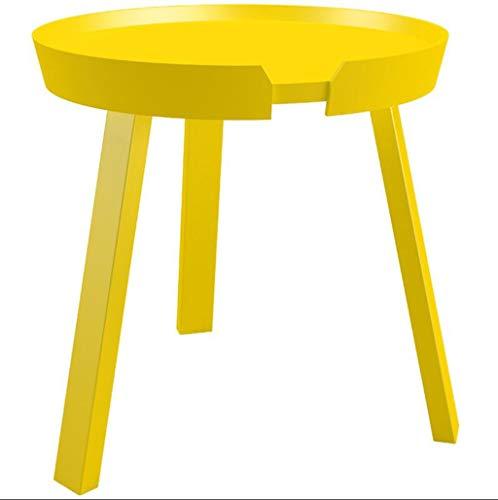 LANLANLife Mesa de Centro Europea Sofá de Madera Maciza Lado del gabinete Simple Moderna Sala de Estar Mesa Redonda (Color : Yellow)