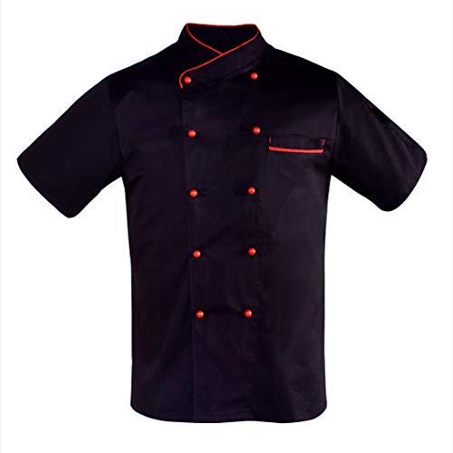 Nanxson Giacca da Chef Manica Corta Giacca da Cuoco Ristorante Divisa da Cuoco per Uomo Donna CFM0048 (Nero Rosso, XXL)