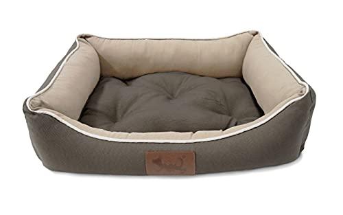 MEISHIDA Cama para Perros Super Suave Cómoda, Cama Perros Transpirable con Cojín Rellena de Fibra Hueca (Gris, Medium - 66 x 50 x 18.5 cm)