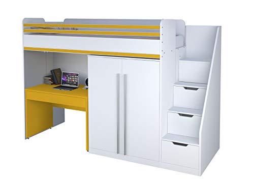 Polini City Hochbett Kombination Treppe Schrank und Tisch weiß gelb