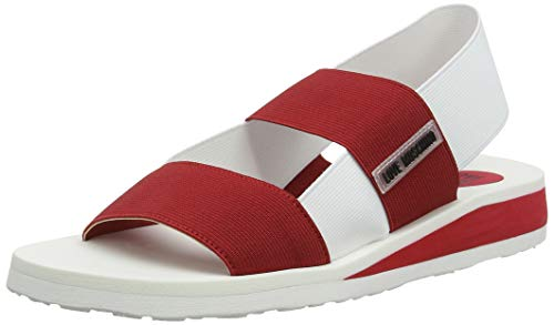 Love Moschino San. Lod. Gomma30 Elastico, Sandales Bout Ouvert Femme, Rouge (Rosso/Bianco 50a), 35 EU