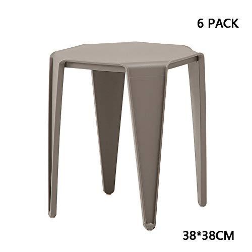 MIMI KING Satz von 6 verdicken Plastikhocker Moderne einfache Esszimmerhocker Stapeln Bar Sitz für Home Küche Schlafzimmer Esszimmer,Agray