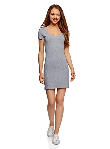 oodji Ultra Damen Baumwoll-Kleid (2er-Pack), Grau, DE 38 / EU 40 / M
