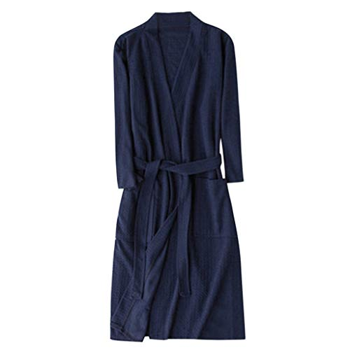 haoricu Men and Women Long Bathrobe Unisex Solid Color Belt Slim Fit Pajamas Couple Nightgown Multi-Color Optional Navy