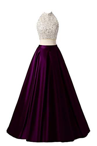 MEILISAY Meilishuo Two Pieces Beaded Sparkly Prom Ball Gown Long Evening Party Dresses 2 Piece TP006 Grape