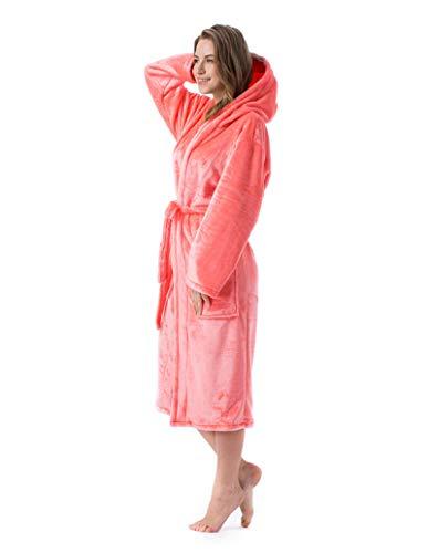 Bademantel Damen, Winter Couple Flanell Morgenmantel Coral Fleece, Schlafanzug Warm und Weich,Rosa,Large