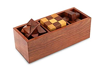 3D Puzzles for Teens and Adults - Includes Wood Interlocking Blocks, Diagonal Burr, and Snake Cube in Storage Box by ShalinIndia