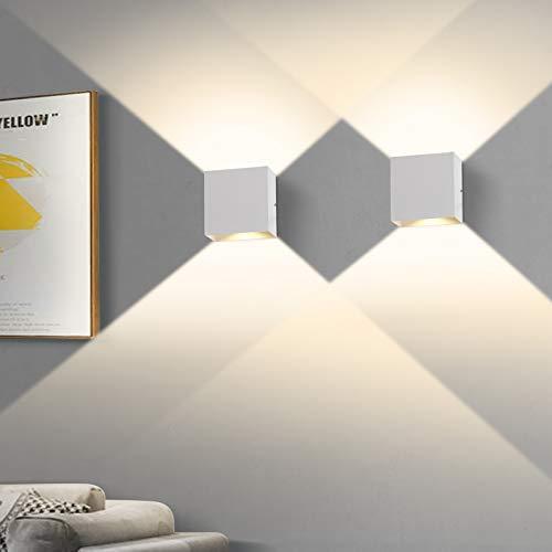 2 Stücke LED Wandleuchte, OOWOLF 6W Up Down Indoor Wandleuchte Moderne Aluminium Wandleuchte Leuchten für Wohnzimmer Schlafzimmer (Weiß 2)