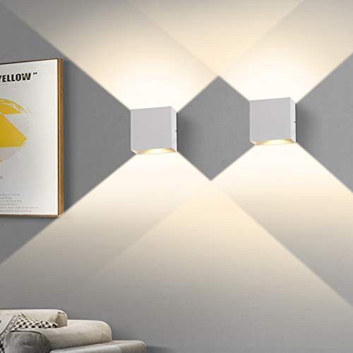 2 PCS 6W LED Lámpara de pared interior, Aplique de Pared Arriba Abajo Moderno Accesorios de Iluminación para la Sala de Estar Dormitorio Baño Cocina Comedor, Blanco cálido