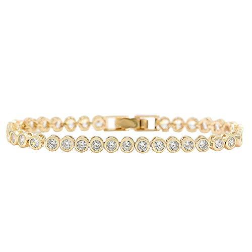 Neaer Pulsera brillante de corte redondo con circonitas cúbicas de cristal para mujer o accesorios de boda (color del metal: oro de 18 quilates)