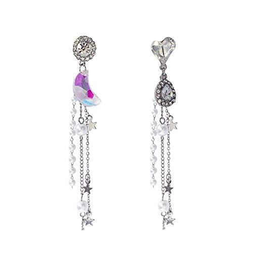 ZLININ Y-Longhair Pendientes Largos asimétricos de la Perla estupenda Hada de Amor Pendientes Gota Franja Luna de Cristal Colgante de la Mujer