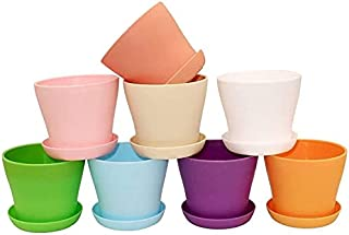 """Mumoo Bear 8Pcs 4"""" Small Plant Pots Colorful Plastic Flower Pots Indoor Plant Pots for Office House Desk with Pallet/Tray..."""