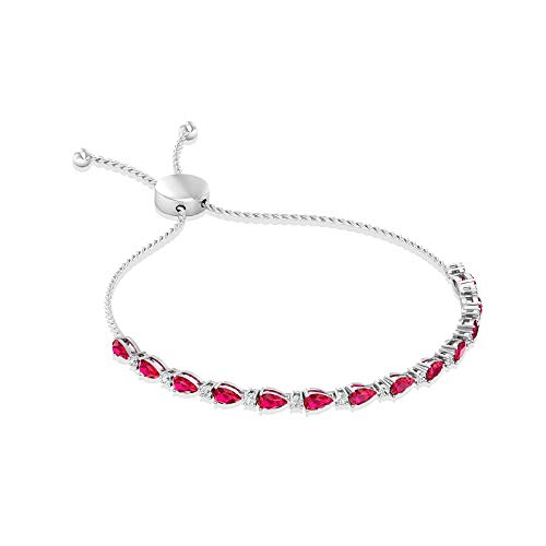 Rosec Jewels 10 quilates oro blanco pera round-brilliant-shape H-I Red Diamond Ruby