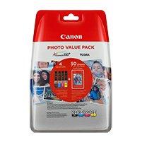 6443B006 - Photo Value PCK Blister W/O SE Canon CLI-551 BK/C/M/Y Ink Cartridge + Photo Paper Value Pack