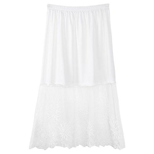 YOURPAI Falda Interior de Encaje, Faldas de Medio Deslizamiento de Encaje Extensor de Cintura elástica Una línea Enagua Hueca Enagua Blanca