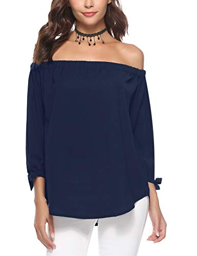 Aibrou Women's Off The Shoulder Shirt, 3/4 Sleeve Casual Blouses Top T-Shirt Dress Tunic Swing Style