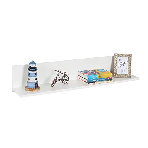 RICOO Wandregal (WM052-WM) 98 x 19 x 19 cm Holzregal Weiß Matt Bücherregal Organizer Bücherschrank Wandboard Pflanzenregal Wohnzimmer