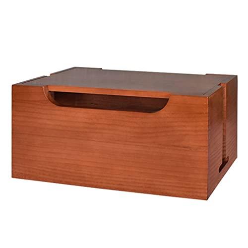 Caja de organizador de cordón Caja de almacenamiento de alambre de madera maciza Blindaje grande Potencia y cable de datos Zócalo de escritorio Caja de cruce ( Color : Brown , Size : 39*18*19cm )
